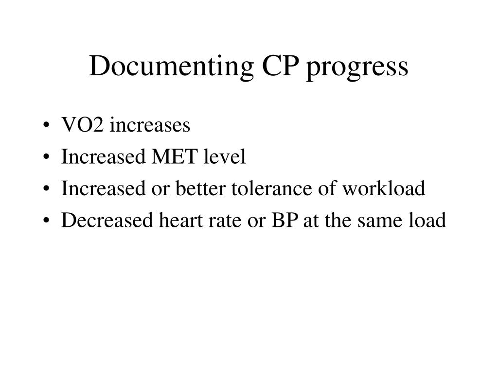 Documenting CP progress