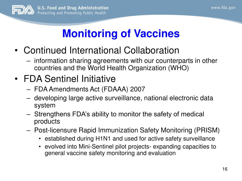 Monitoring of Vaccines
