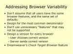 addressing browser variability
