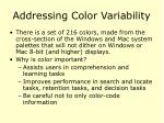 addressing color variability
