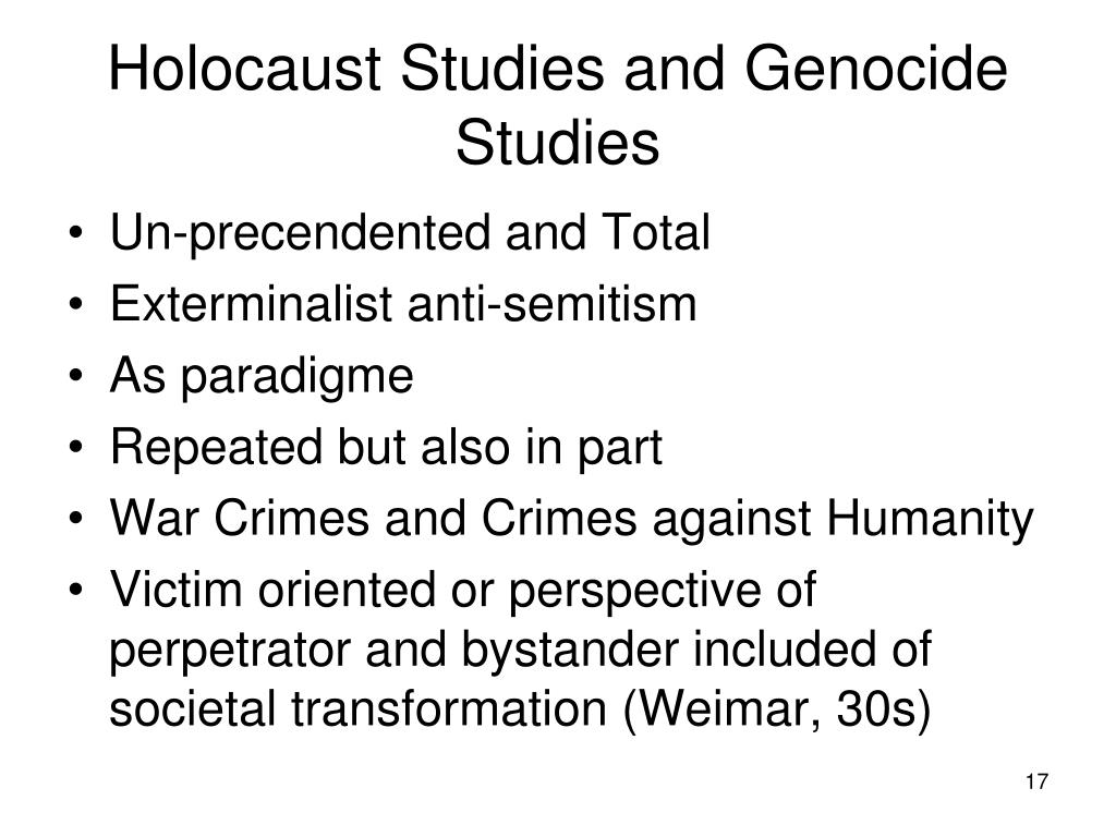 Holocaust Studies and Genocide Studies