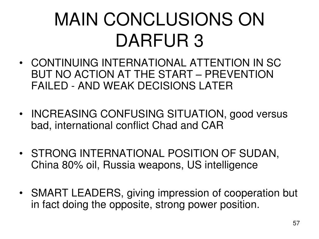 MAIN CONCLUSIONS ON DARFUR 3