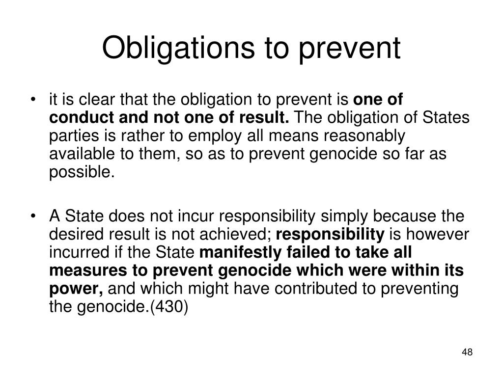 Obligations to prevent
