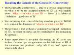 recalling the genesis of the geneva ig controversy