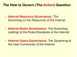 the how to govern the action question