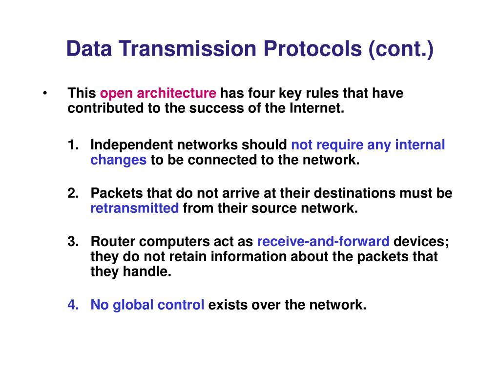 Data Transmission Protocols (cont.)