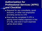 authorization for professional services afps and checklist