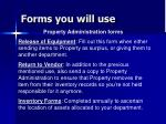 forms you will use41