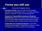 forms you will use50