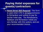 paying hotel expenses for guests contractors