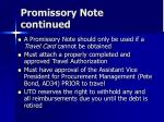 promissory note continued