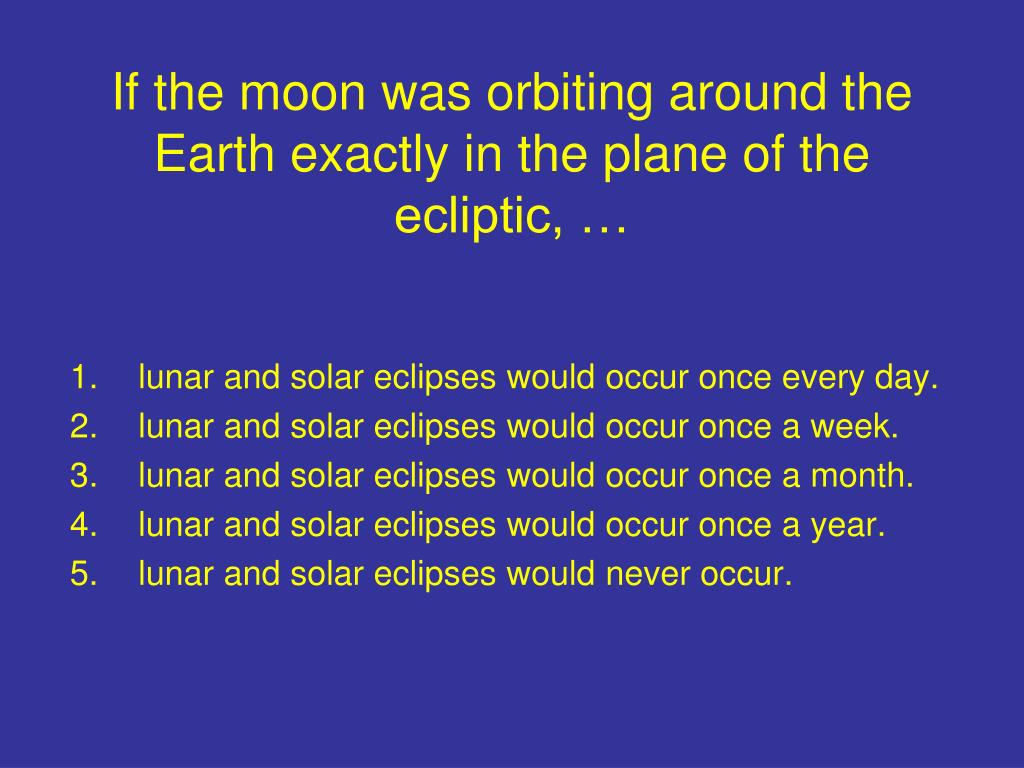 If the moon was orbiting around the Earth exactly in the plane of the ecliptic, …