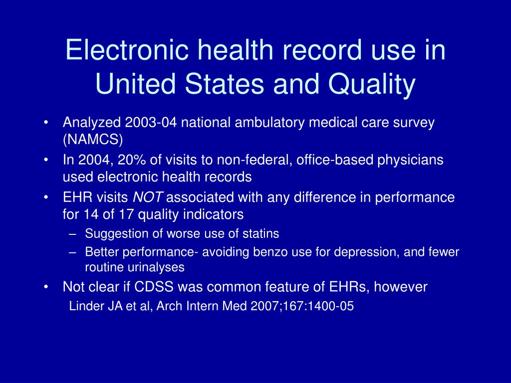 Electronic health record use in United States and Quality