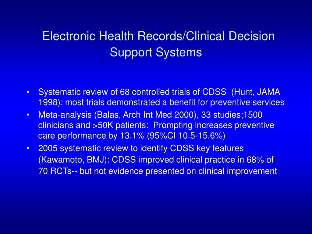Electronic Health Records/Clinical Decision Support Systems