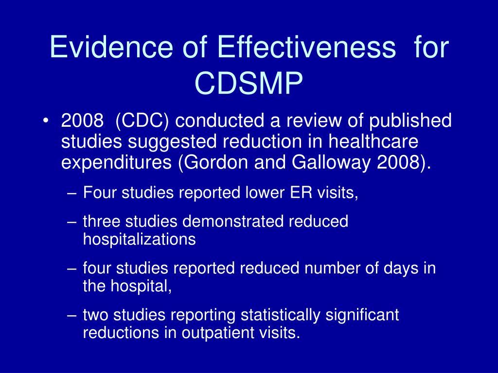 Evidence of Effectiveness  for CDSMP