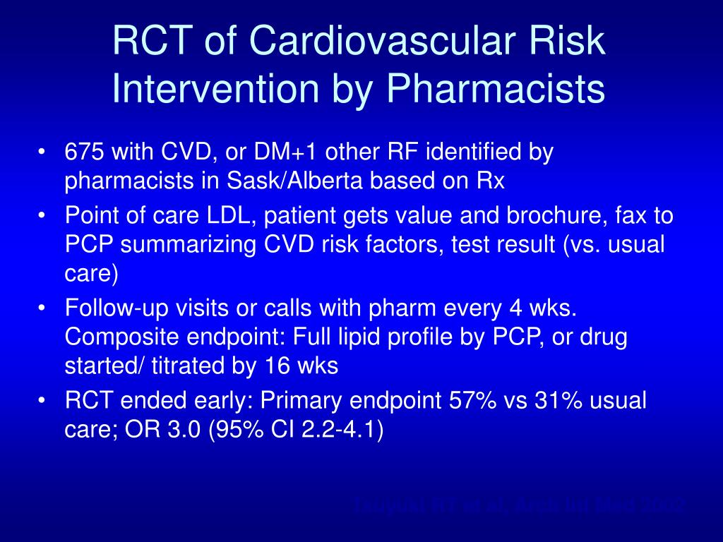RCT of Cardiovascular Risk Intervention by Pharmacists