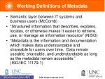 working definitions of metadata