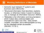 working definitions of metadata