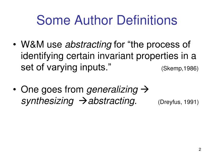 Some author definitions