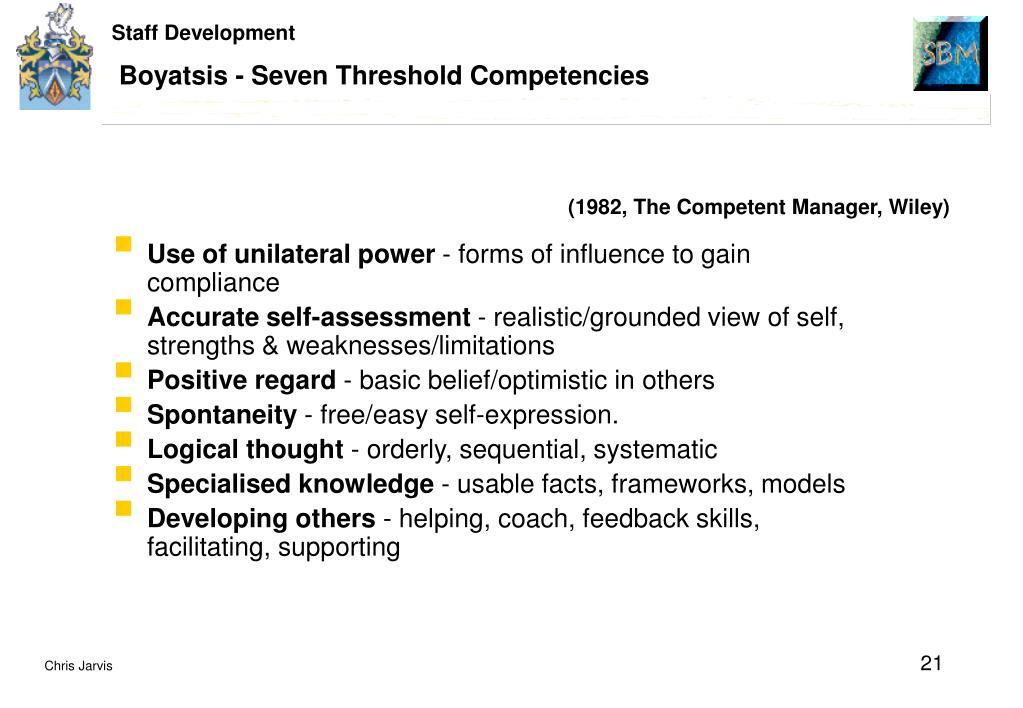 Boyatsis - Seven Threshold Competencies