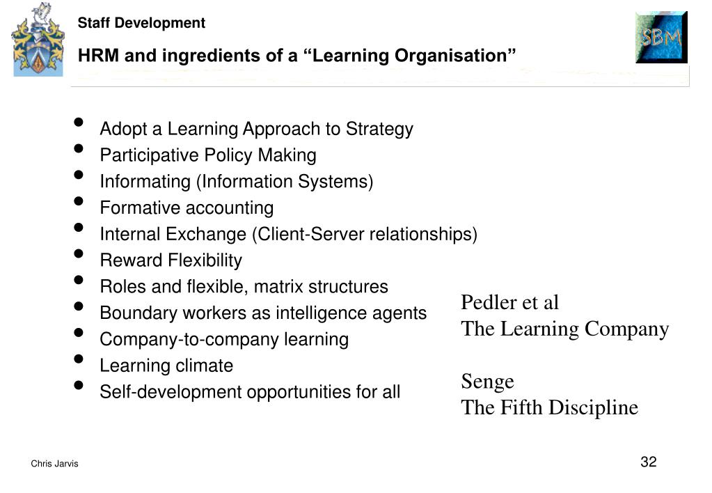 """HRM and ingredients of a """"Learning Organisation"""""""