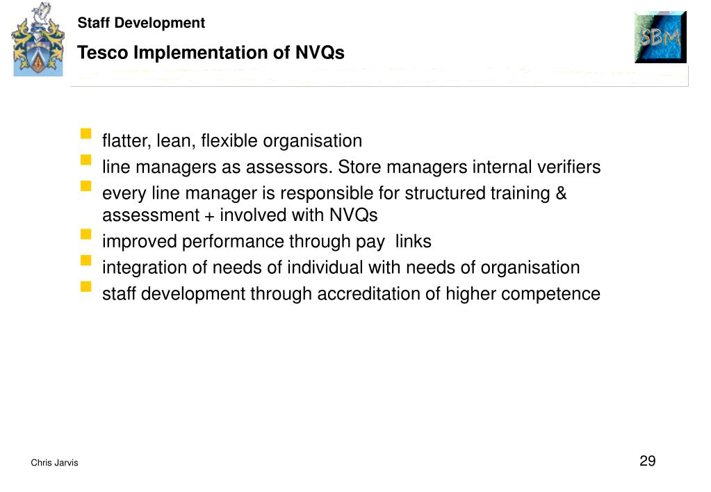 Tesco Implementation of NVQs