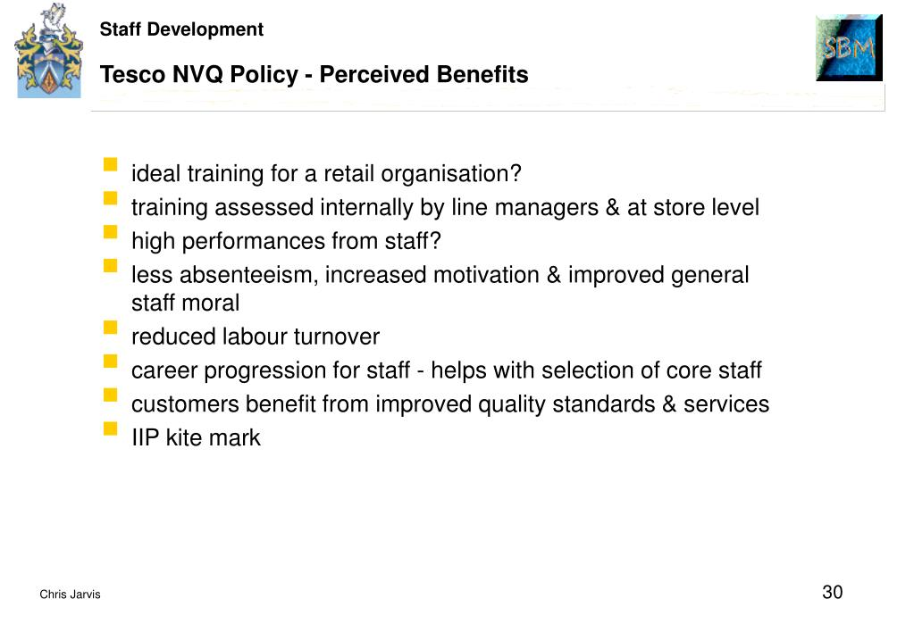 Tesco NVQ Policy - Perceived Benefits