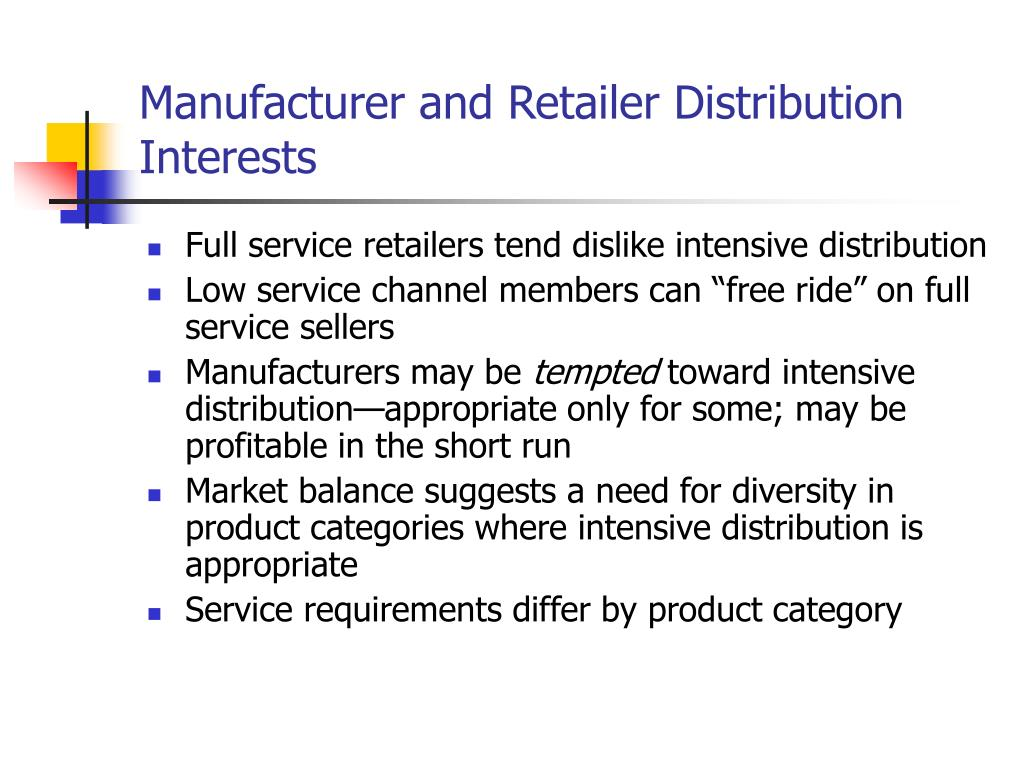 Manufacturer and Retailer Distribution Interests