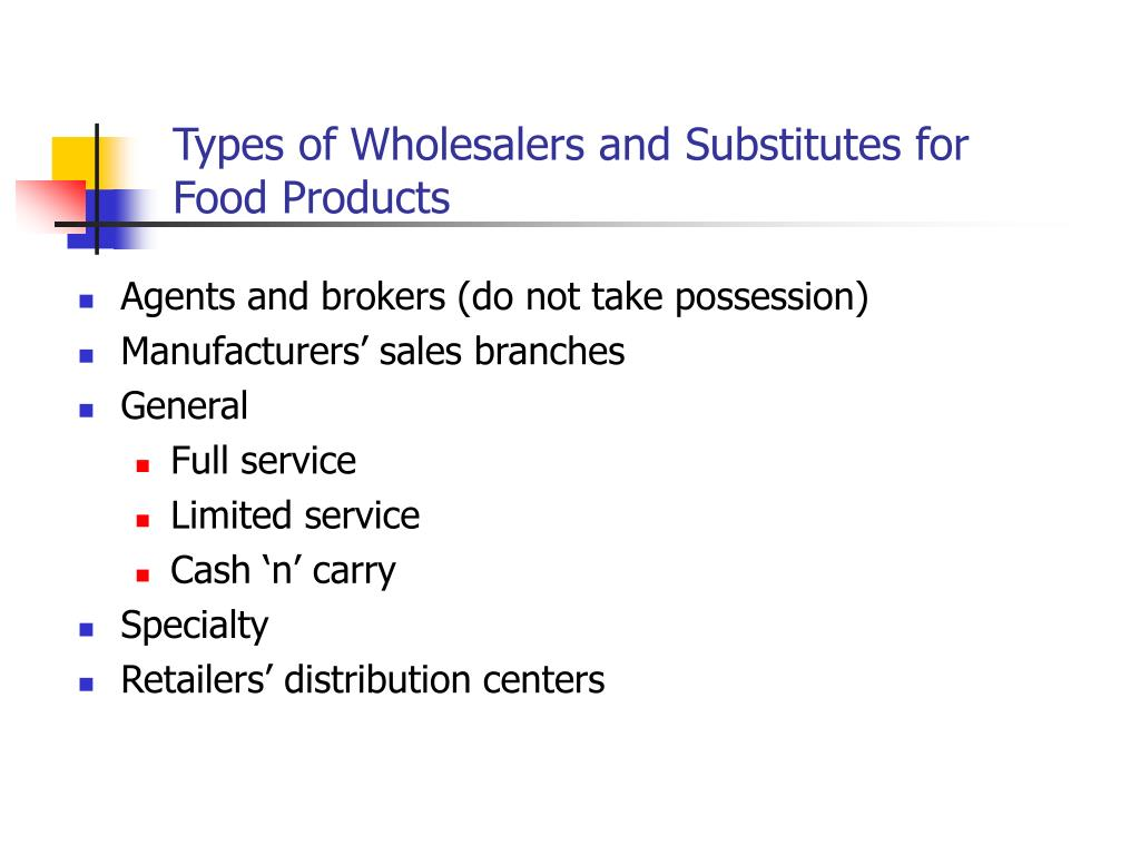 Types of Wholesalers and Substitutes for Food Products