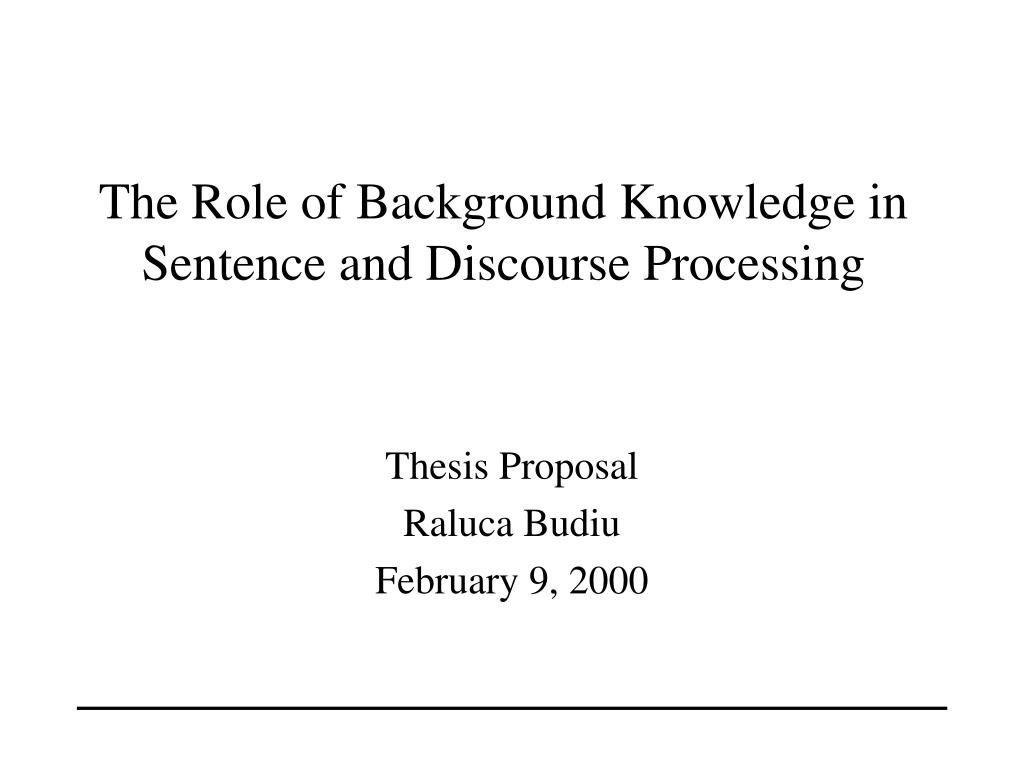 the role of background knowledge in sentence and discourse processing l.