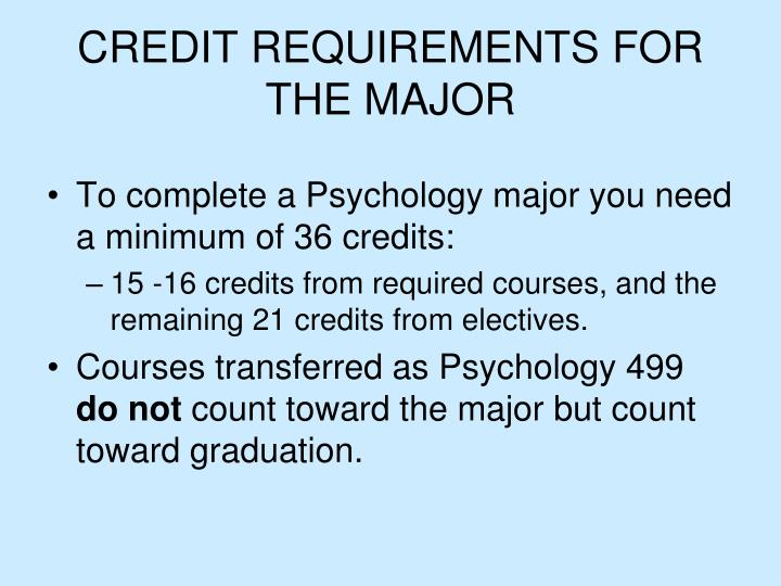 Credit requirements for the major