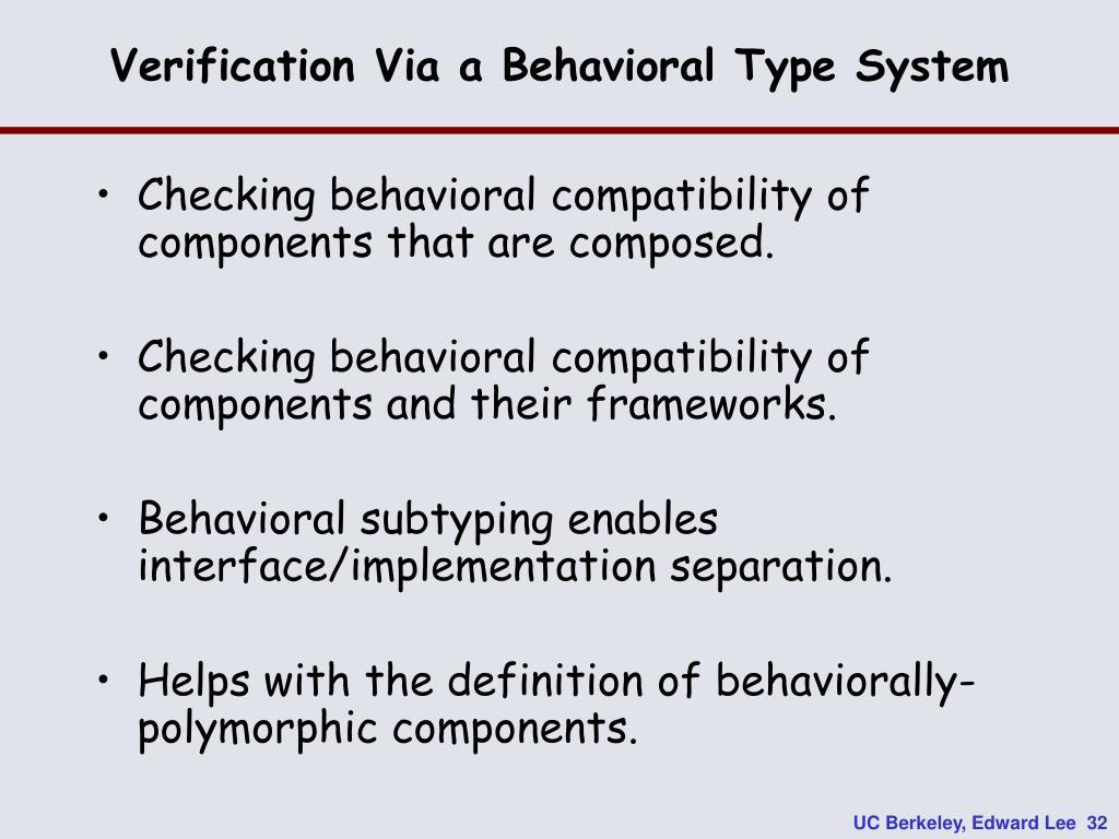 Verification Via a Behavioral Type System