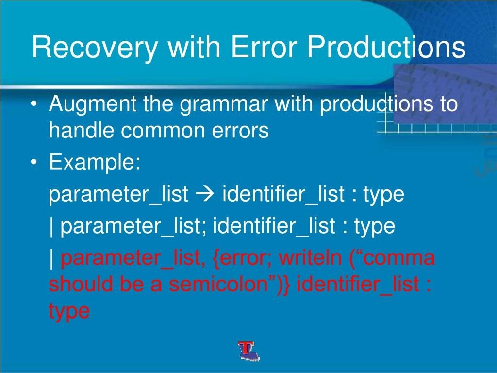 Recovery with Error Productions
