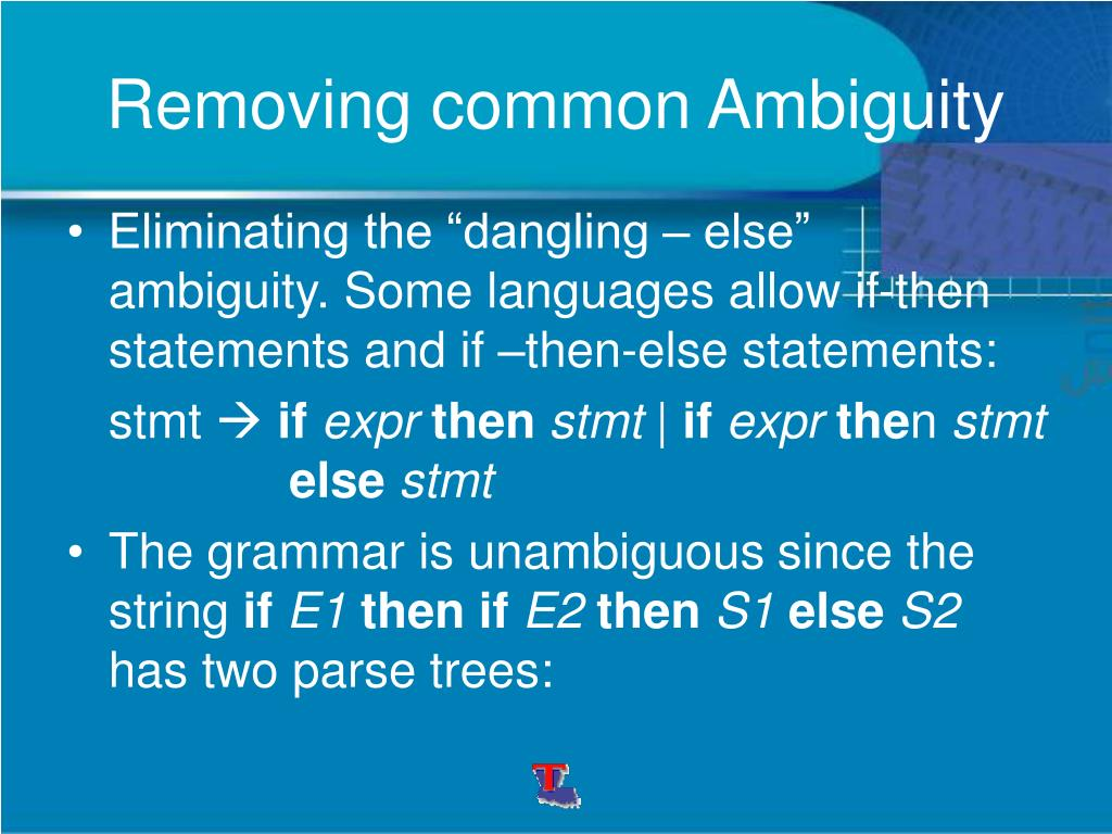 Removing common Ambiguity