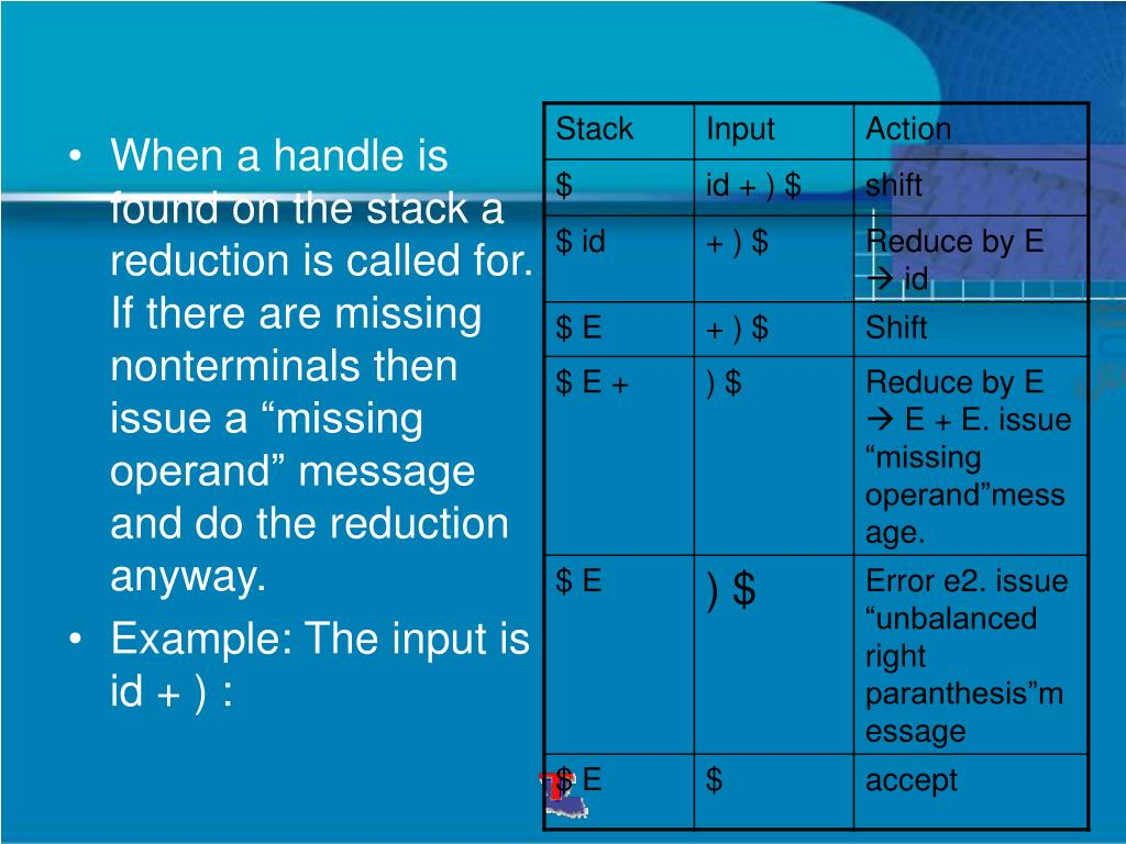 "When a handle is found on the stack a reduction is called for. If there are missing nonterminals then issue a ""missing operand"" message and do the reduction anyway."