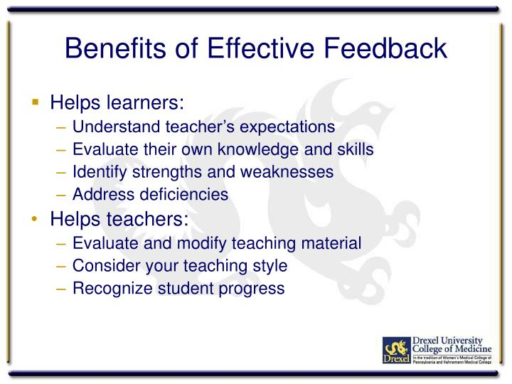 Benefits of effective feedback