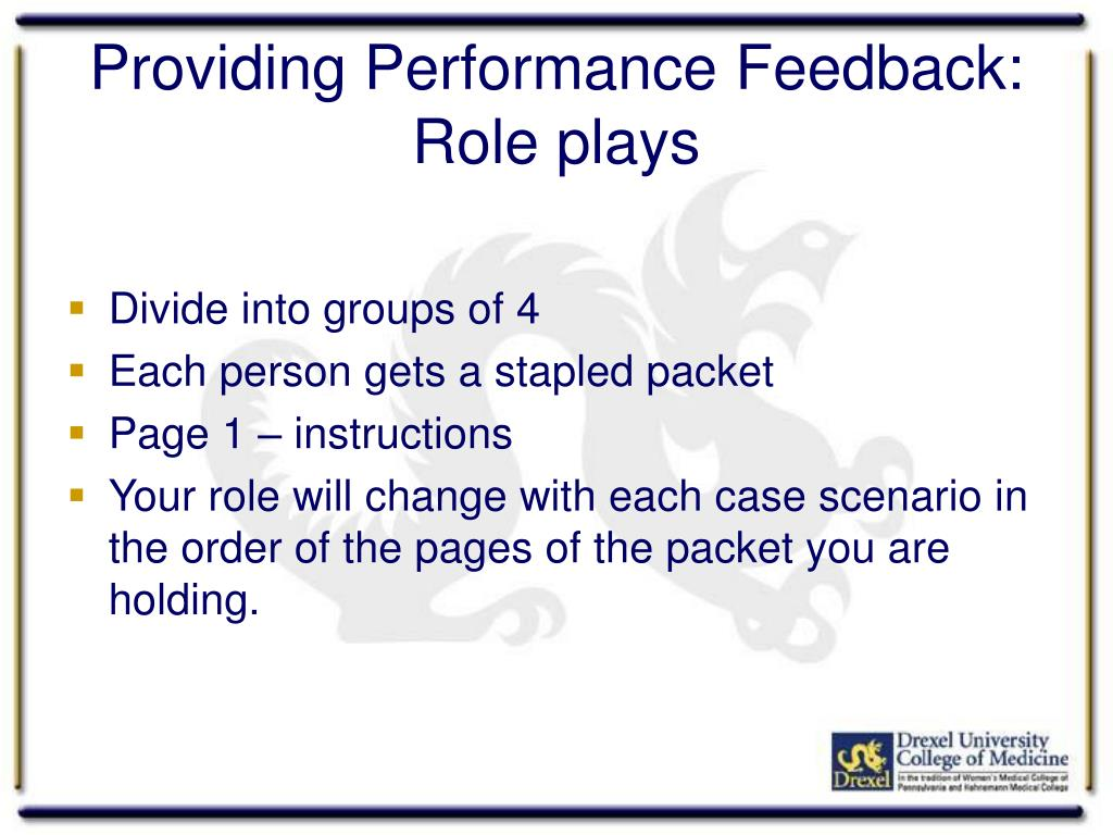 Providing Performance Feedback:
