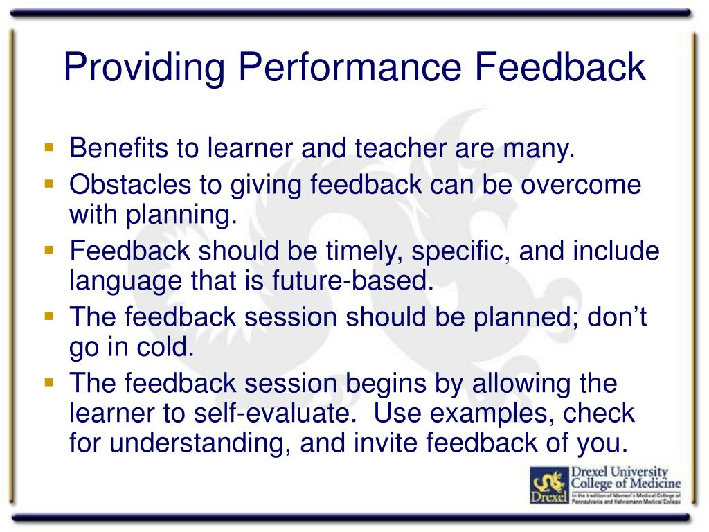 Providing Performance Feedback