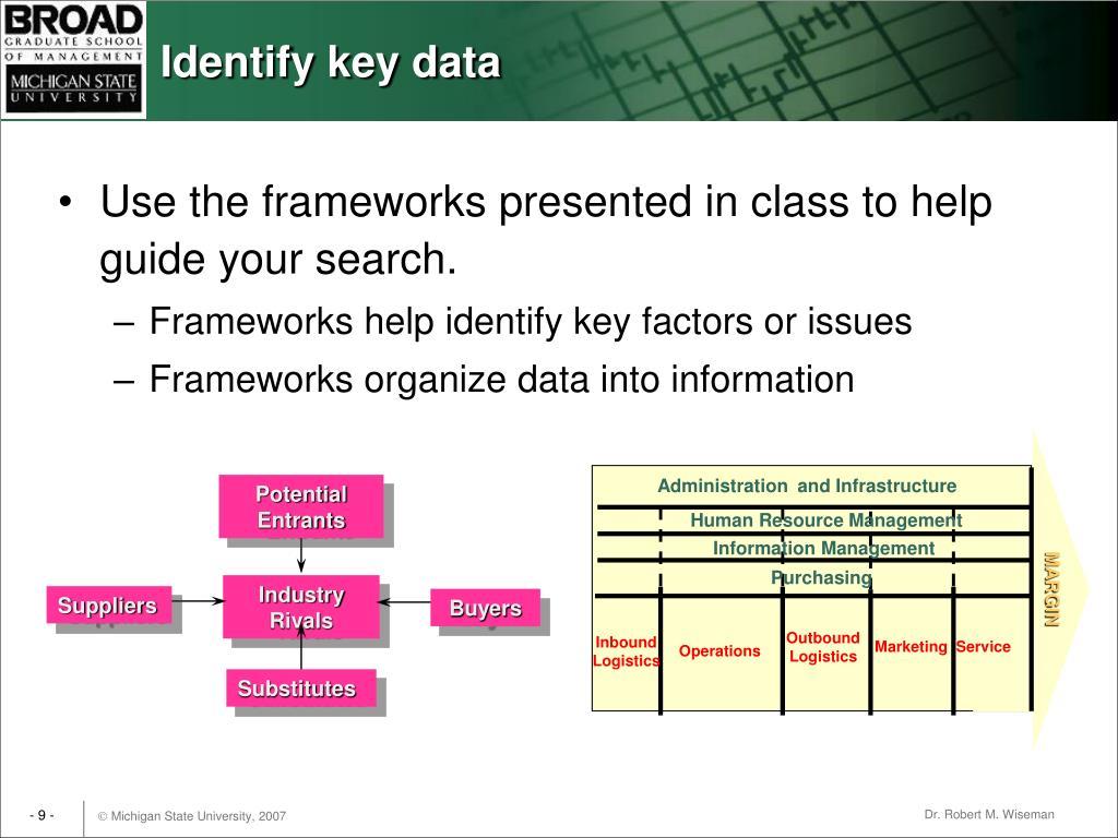 Identify key data