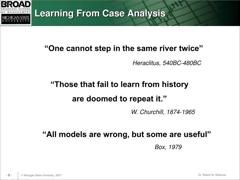Learning From Case Analysis