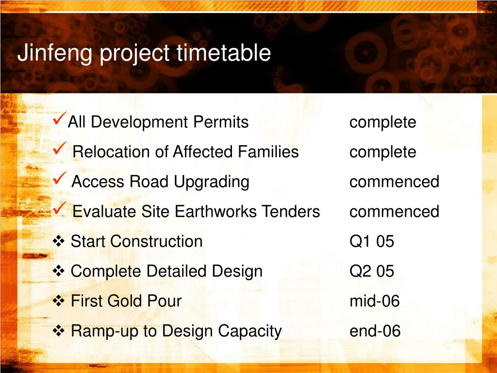 Jinfeng project timetable