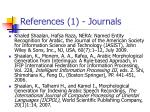 references 1 journals