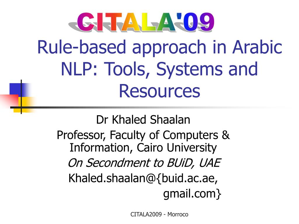 rule based approach in arabic nlp tools systems and resources