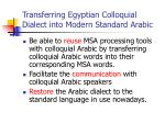 transferring egyptian colloquial dialect into modern standard arabic