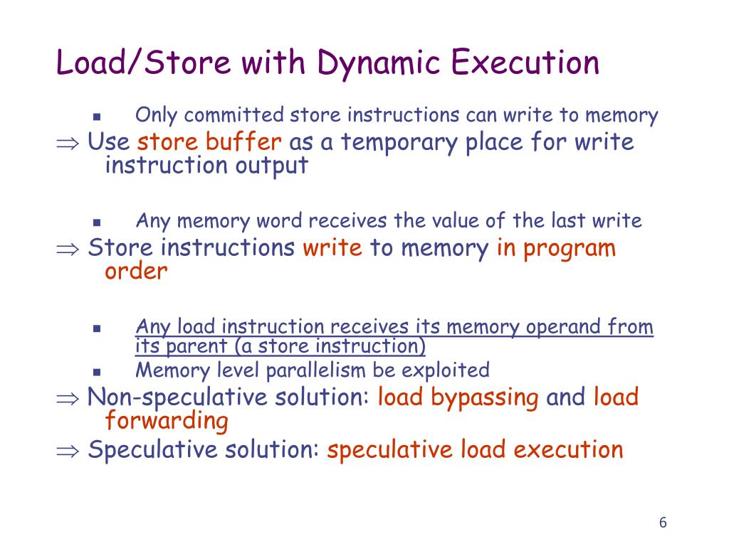 Load/Store with Dynamic Execution