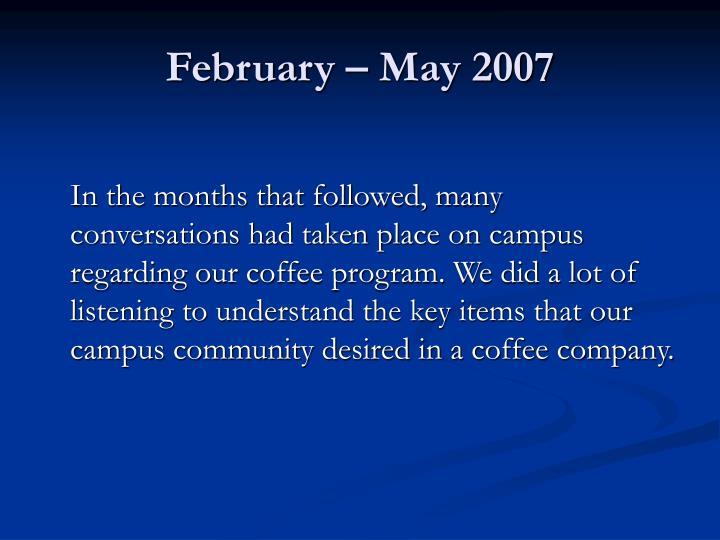 February may 2007