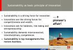 sustainability as basic principle of innovation