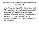 report of the subcommittee to fda science board 1998