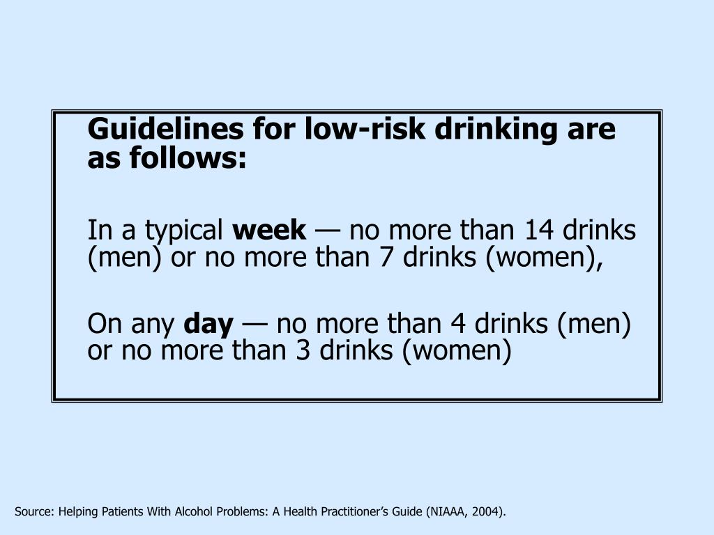 Guidelines for low-risk drinking are as follows: