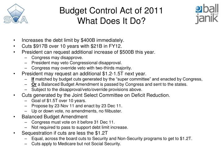 Budget control act of 2011 what does it do